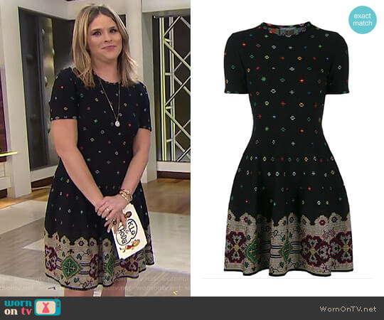 Instarsia Dress 2017 Collection by Alexander Mcqueen worn by Jenna Bush Hager on Today