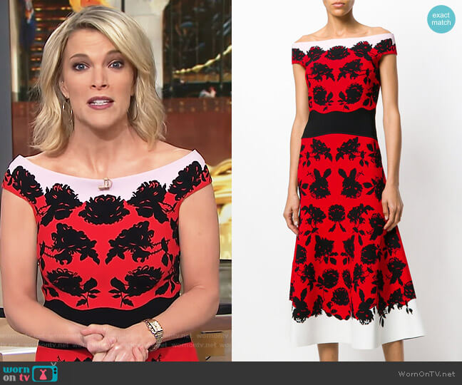 Off-Shoulder Floral Midi Dress by Alexander McQueen worn by Megyn Kelly on Today