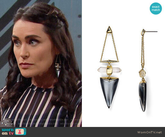 Alexis Bittar Lucite Dangling Post Drop Earrings worn by Quinn Fuller (Rena Sofer) on The Bold & the Beautiful