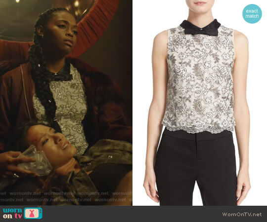 Manie Bow Collar Embellished Crop Top by Alice + Olivia worn by Anissa Pierce (Nafessa Williams) on Black Lightning
