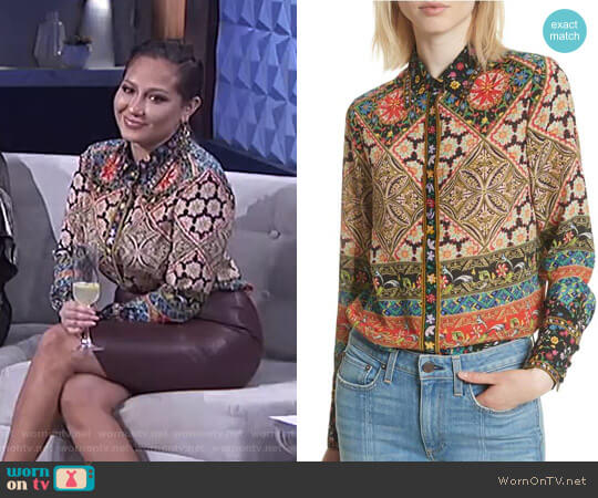 Patchwork Print Silk Shirt by Alice + Olivia worn by Adrienne Houghton (Adrienne Houghton) on The Real