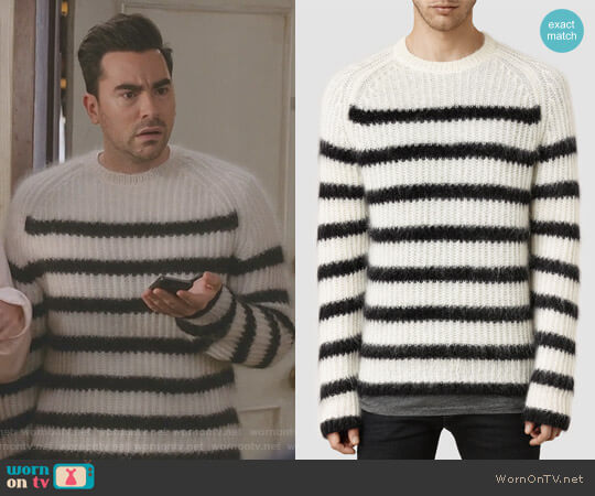 Breton' Crew Sweater by All Saints worn by David Rose (Daniel Levy) on Schitts Creek