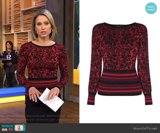 Leopard Waist Stripe Jumper by Karen Millen worn by Amy Robach on Good Morning America