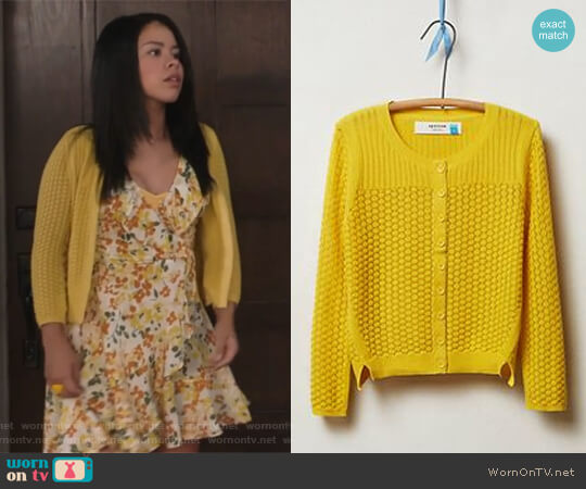 Pointelle Cable Cardigan in Gold from Anthropologie worn by Mariana Foster (Cierra Ramirez) on The Fosters