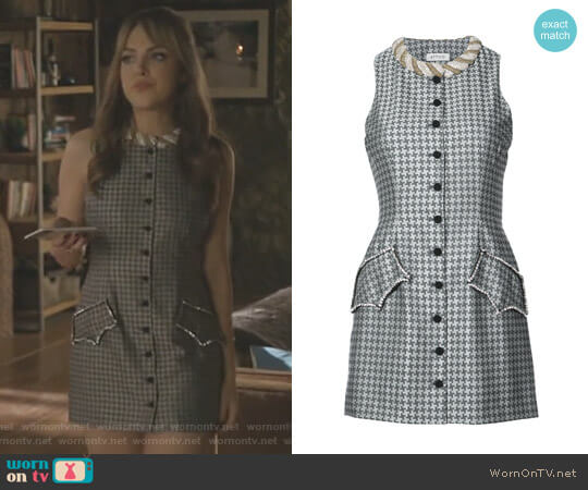Embellished and Buttoned Printed Mini Dress by Attico worn by Elizabeth Gillies on Dynasty