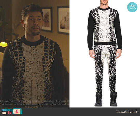 Devore Crocodile Motif Print Sweater and Skinny Pants by Balmain worn by Sam Flores (Rafael de la Fuente) on Dynasty