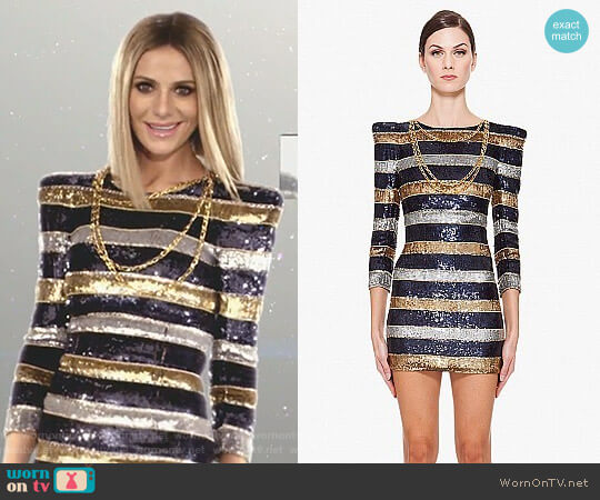 Silk Stripe Sequin Dress by Balmain worn by Dorit Kemsley  on The Real Housewives of Beverly Hills