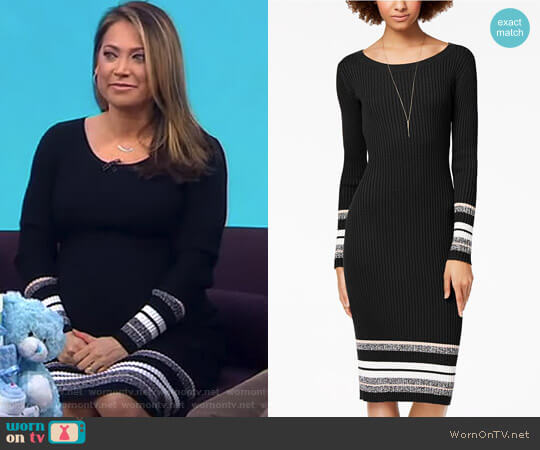 Ribbed-Knit Midi Sweater Dress by Bar III worn by Ginger Zee  on Good Morning America