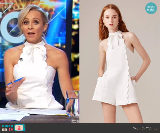 Duplicate Playsuit by C/MEO Collective worn by Carrie Bickmore on The Project