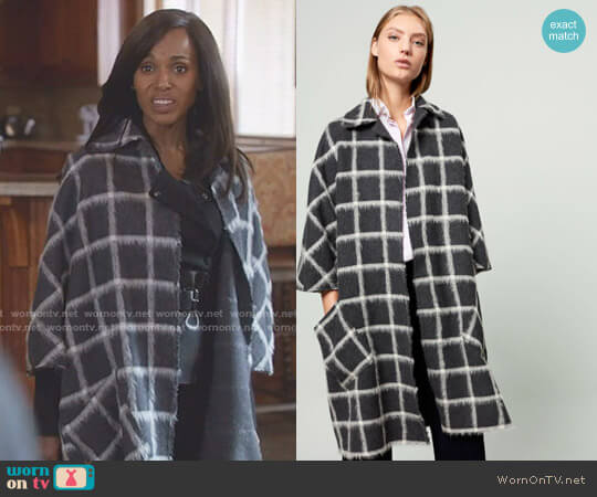 Checked Cloth Cape by Carolina Herrera worn by Kerry Washington on Scandal