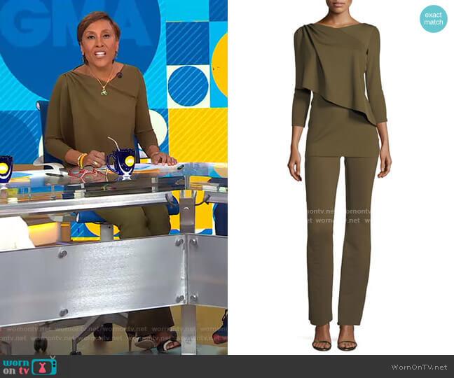 Chiara Boni La Petite Robe Rosadel Top and Venusette Pants worn by Robin Roberts  on Good Morning America