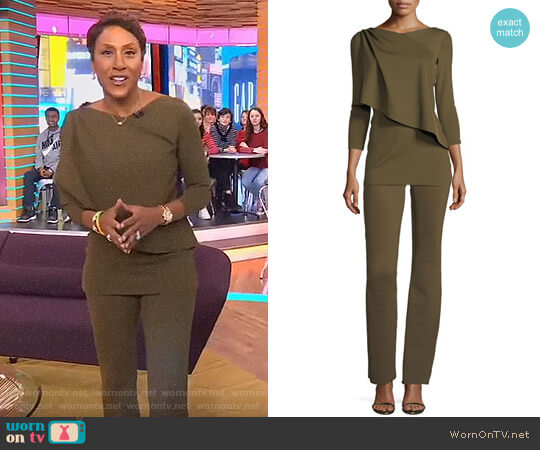 Chiara Boni La Petite Robe Rosadel Top and Venusette Pants worn by Robin Roberts  on Good Morning America
