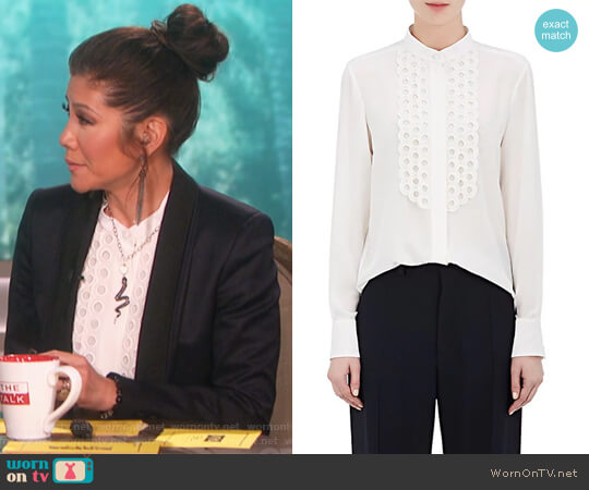 Silk Crepe De Chine Scalloped Blouse by Chloe worn by Julie Chen  on The Talk