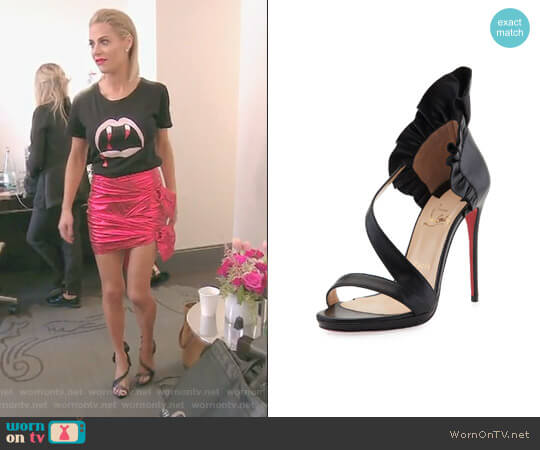 Col Ankle Ruffle Red Sole Sandal by Christian Louboutin worn by Dorit Kemsley  on The Real Housewives of Beverly Hills