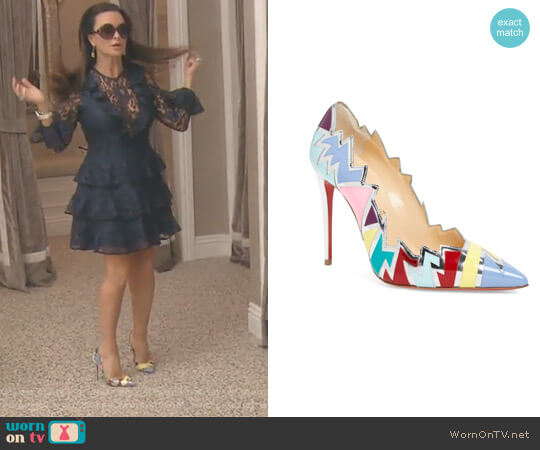 Explotek Razor Edge Pump by Christian Louboutin worn by Kyle Richards  on The Real Housewives of Beverly Hills