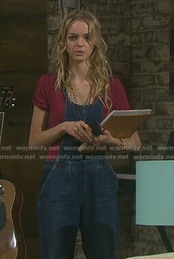 Claire's denim overalls on Days of our Lives
