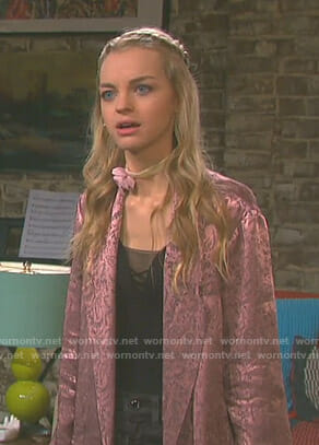 Claire's pink paisley blazer on Days of our Lives