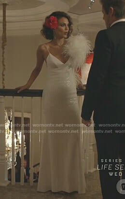 Cristal's white sequin gown on Dynasty