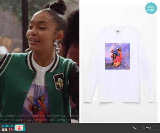 TLC Studio Long Sleeve T-Shirt by Cross Colours worn by Yara Shahidi on Grown-ish