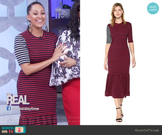 Striped Midi Dress by Cynthia Rowley worn by Tamera Mowry on The Real