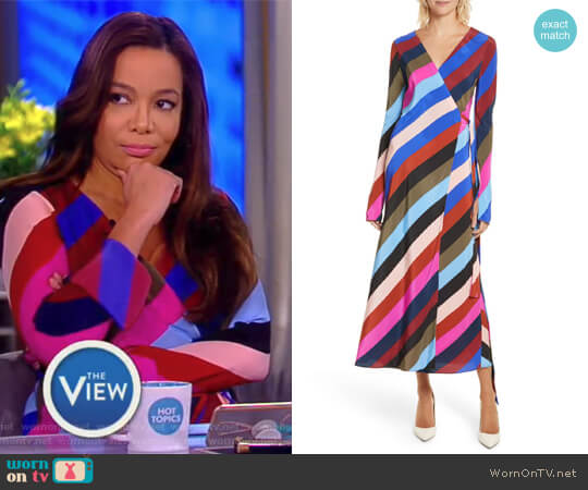 Stripe Silk Wrap Midi Dress by Diane von Furstenberg worn by Sunny Hostin on The View