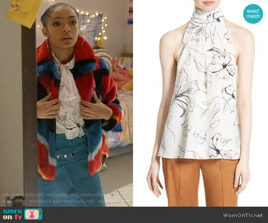 Print Silk High Neck Blouse by Diane von Furstenberg worn by Zoey Johnson (Yara Shahidi) on Grown-ish