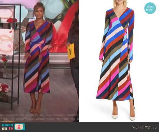 Stripe Silk Wrap Midi Dress by Diane von Furstenberg worn by Eve on The Talk