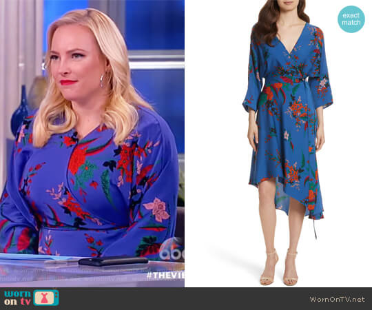 Silk Asymmetrical Wrap Dress by Diane von Furstenberg worn by Meghan McCain on The View