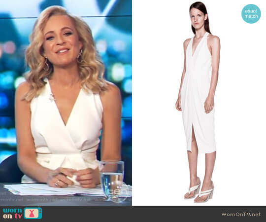 Whitewash Drape Dress by Dion Lee worn by Carrie Bickmore on The Project