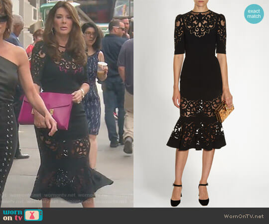 Laser-Cut Midi Dress by Dolce & Gabbana worn by Lisa Vanderpump  on The Real Housewives of Beverly Hills