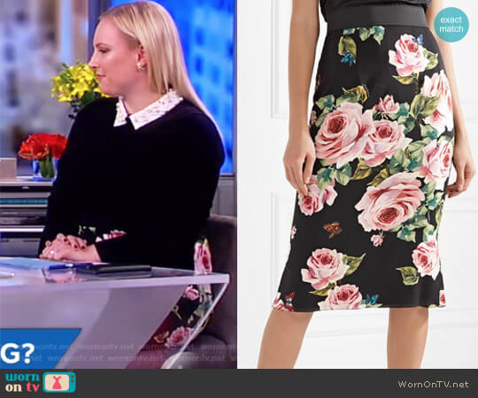 Floral-print stretch-silk charmeuse midi skirt by Dolce & Gabbana worn by Meghan McCain on The View