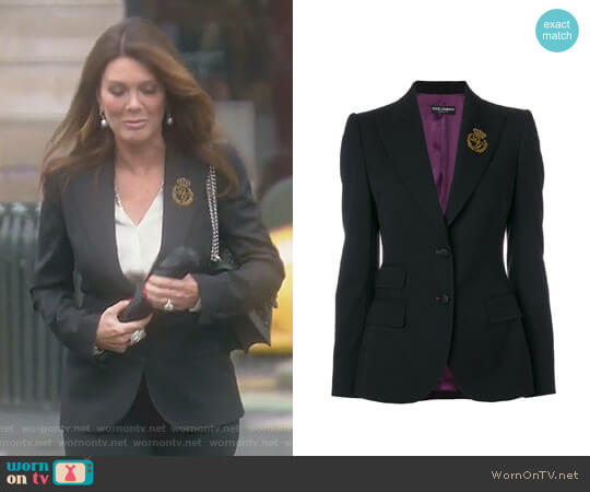 Embroidered Logo Blazer by Dolce & Gabbana worn by Lisa Vanderpump on The Real Housewives of Beverly Hills