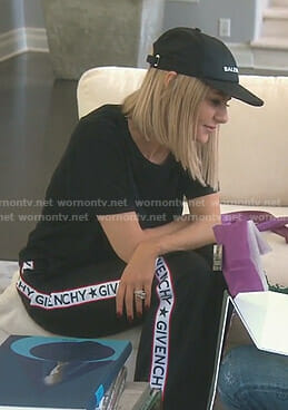 Dorit's black Givenchy logo pants and Balenciaga baseball cap on The Real housewives of Beverly Hills