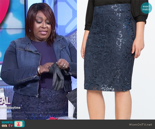Floral Sequin Skirt by Eloquii worn by Loni Love on The Real