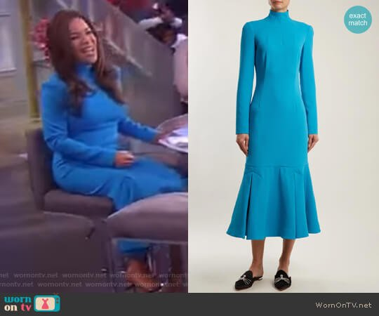 Prudence high-neck double-crepe dress by Emilia Wickstead worn by Sunny Hostin on The View