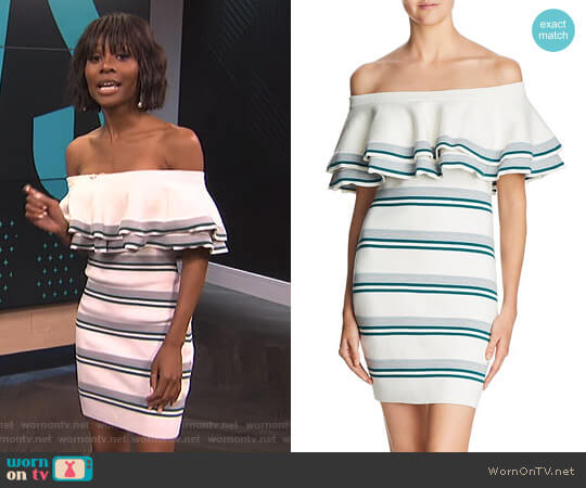 Off-the-Shoulder Fitted Knit Dress by Endless Rose worn by Zuri Hall  on E! News