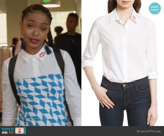 Essential Lip Print Cotton Shirt by Equipment worn by Zoey Johnson (Yara Shahidi) on Grown-ish