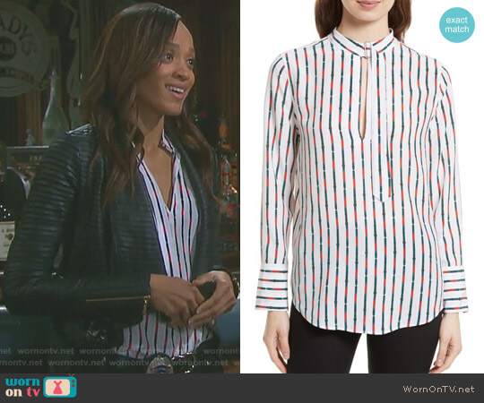 'Janelle' Belt Print Silk Blouse by Equipment worn by Sal Stowers on Days of our Lives