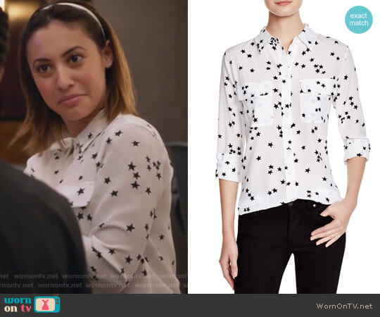 Slim Signature Silk Top by Equipment worn by Ana Torres (Francia Raisa) on Grown-ish