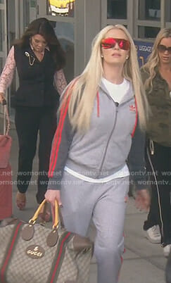 Erika's grey striped zip hoodie on The Real Housewives of Beverly Hills