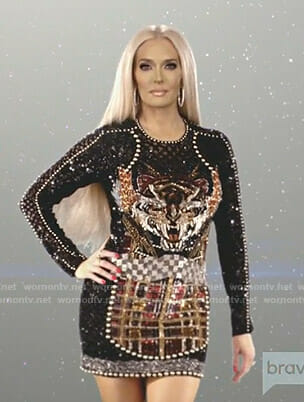 Erika's black embellished cut scene dress on The Real Housewives of Beverly Hills