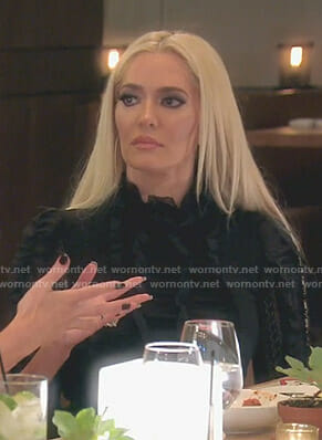 Erika's black ruffled lace dress on The Real Housewives of Beverly Hills