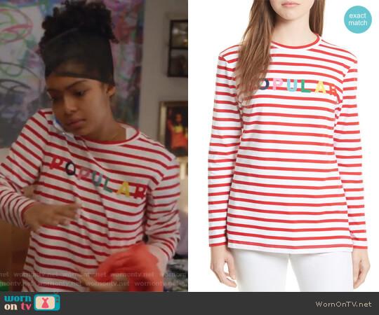 Popular Stripe Tee by Etre Cecile worn by Zoey Johnson (Yara Shahidi) on Grown-ish