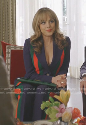 Fallon's navy striped suit on Dynasty