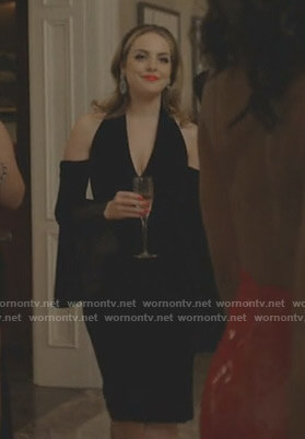 Fallon's black cold-shoulder dress on Dynasty