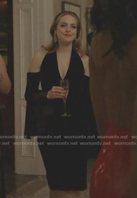 Fallon's black cold-shoulder dress on Dynasty