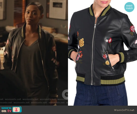 Embroidered Faux Leather Bomber Jacket worn by Nafessa Williams on Black Lightning
