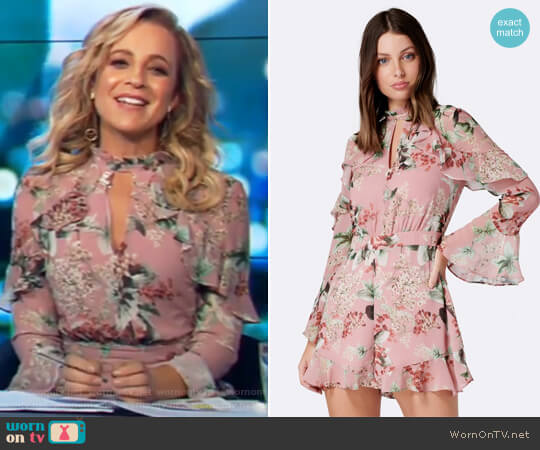 Petal Ruffle Playsuit by Forever New worn by Carrie Bickmore  on The Project