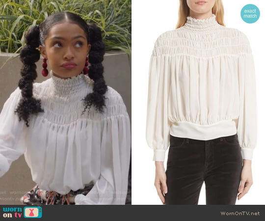 Smocked Tie Back Blouse by Frame worn by Zoey Johnson (Yara Shahidi) on Grown-ish