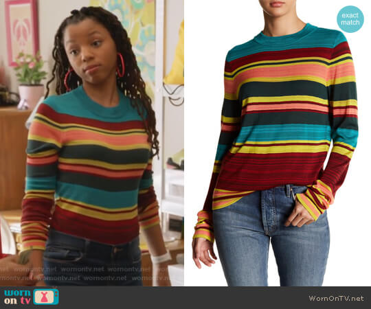 Throwback Long Sleeve Tee by Free People worn by Jazlyn Forster (Chloe Bailey) on Grown-ish